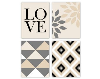 Neutral  Wall Art Prints, Canvas or Print Option, Black Grey Beige Sand, 5x7 8x10 11x14, Set of 4!