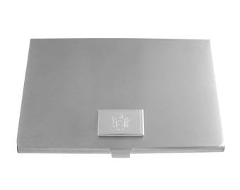 Silver Toned Etched New York State Flag Business Card Holder