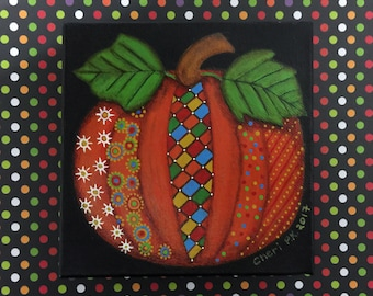 "PATTERNED PUMPKIN Original Acrylic Painting - 6"" X 6"" x 1.5"""