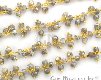 Mistique Labradorite Cluster Rosary Chain, 2.5-3mm 24k Gold Plated wire wrapped Chain by foot GemMartUSA (GPML-30020)