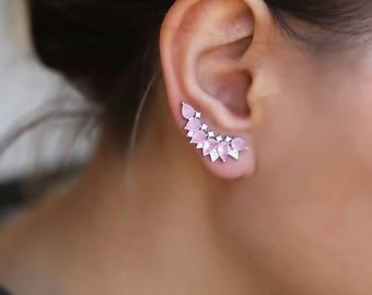 Rose Quartz ear climbers pink gemstone ear crawlers Sterling Silver earrings dainty ear climber Ear crawler blush earrings wedding earrings