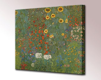 Farm Garden with Sunflower by Gustav Klimt Canvas Print Wall Decor Canvas Wall Art Print Ready To Hang