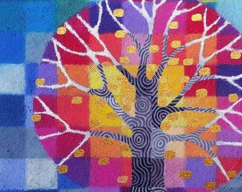 Tiny Test Pattern Tree 2 print, with hand painted details