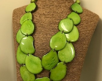 Tagua nut jewelry- bead necklace. Eco Friendly- Lime Green