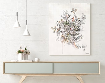 Floral Modern Art, Modern Wall Art, Floral Painting, Living Room Wall Art, Floral Print, Modern Ink Art, Contemporary Wall Art, Floral Decor