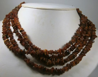 """Long Amber Necklace, Genuine Baltic Amber, Natural Organic Vintage Necklace, Rich Brown Amber Chips, 1950's, 80"""" Long"""