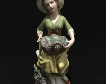 Vintage Woman with Grapes Statue