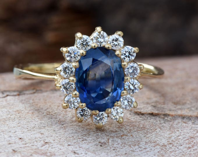 Featured listing image: Diamond ring with Sapphire-Blue Sapphire-1 ct Blue Sapphire Engagement Ring-Yellow Gold Engagement Ring -Diana Ring-Anniversary ring-For her