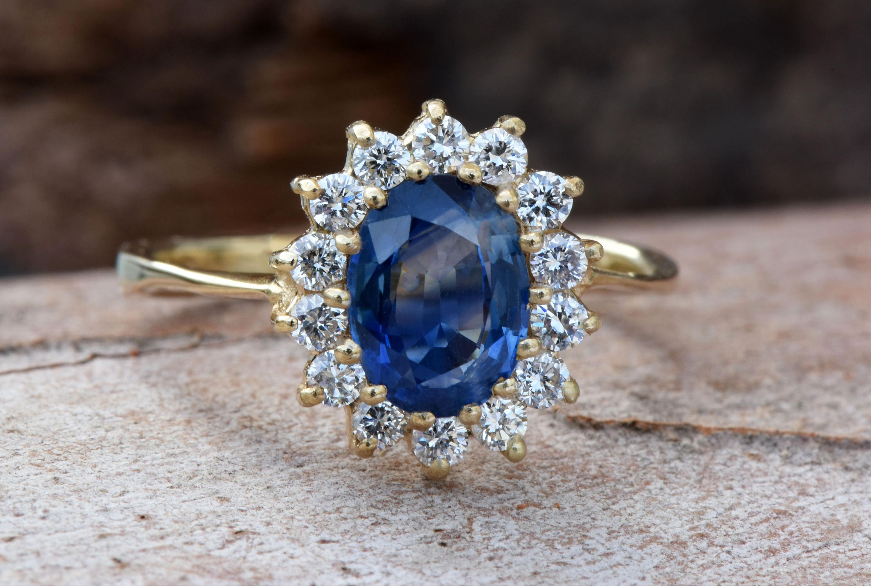 rings gold arnold halo ring engagement blue jewelers product sapphire