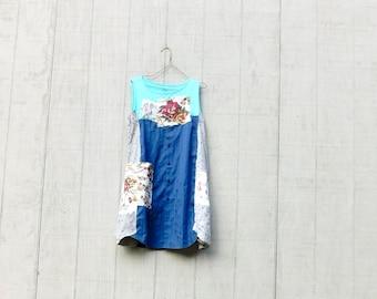 Summer Tank Dress, Spring Tunic, Plaid, Upcycled Clothing, Casual, Upcycled Dress, Romantic, Boho, CreoleSha