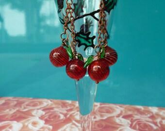 Cherry Good! Dangling berry earrings.