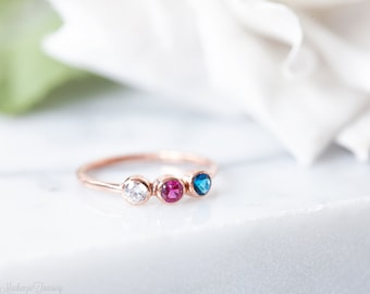 Triple birthstone ring - Triple stone ring - 3 birthstone ring - Three birthstone ring - Personalized birthstone ring