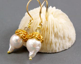 Baroque Pearl Earrings with Grey Moonstone in Gold Vermeil - Bridal Earrings - June Birthstone - Handmade by Adonia Jewelry