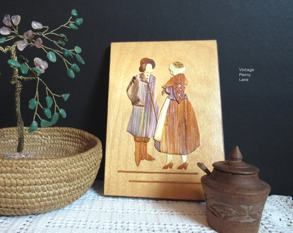 Vintage Polish Straw Art Wall Hanging Handmade Folk Art Wood
