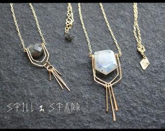 Moonstoner Necklace - Hammered Gold Filled & Faceted Moonstone