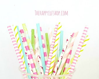 Tropical party straws. Tropical straws. floral straws. tropical party. tropical party decor. tropical decor. tropical cake pop sticks.