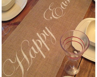 Burlap Table Runner with Happy Easter - Holiday decorating Home decor Easter runner