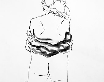 """It's A Wrap- Original Ink Figure Drawing 18"""" x 22"""" Life drawing"""