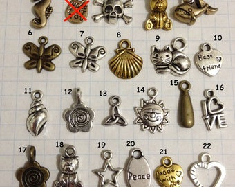 Small Metal Charms to add to your Friendship bracelets - 93 options