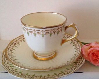 Vintage Art Deco Tea cup and saucer and side plate (tea cup trio) in tuscan plant bone china, 1930's vintage teacup trio.