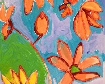Flowers 8 x 8 original acrylic painting, flower painting, kitchen art, original painting
