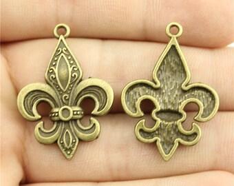 4 Fleur De Lis Charms, Antique Bronze Tone (1G-215)