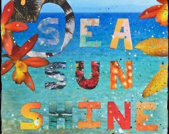 SEA, SUN, SHINE, 8x10, 11x14, 16x20, Hand Signed Matted Print, Ocean Art, Hawaii, Blue, Orchids, Ocean, Hearts, Wall art, Gift