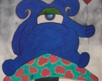 Mushroom Monster Mixed Media Original Artwork Wall Art
