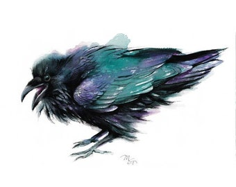 Raven painting watercolor - Archival print. Nature or Bird Illustration, Crow, Raven
