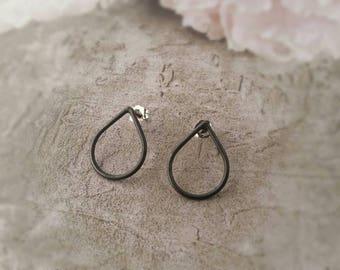 Oxidised Sterling Silver Teardrop Earrings.  Eco Friendly. Raindrop Earrings. Stud Earrings. Oxidized Silver Raindrop Studs