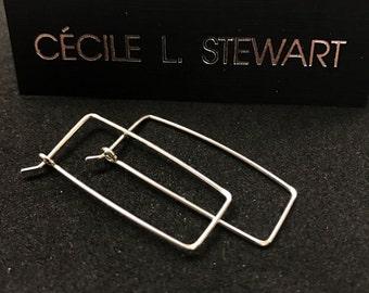 STERLING SILVER Rectangular Earrings. Argentium Hoops . Hammered Hoops. geometric hoops  . interchangeable earrings. mens earrings