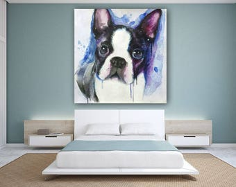 Boston terrier acrylic painting on canvas made to order several sizes available