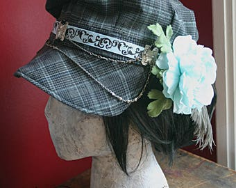 Asymmetrical Steampunk News Boy Hat - Suit Pants, Recycled, Upcycle, Vintage Pin, Flower Fascinator, Blue, Gray