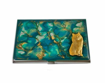 Cat Business Card Case Inlaid in Hand Painted Enamel Turquoise Gold Quartz Inspired Metal Wallet Personalized and Custom Color Options