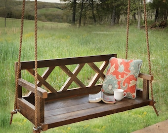 Porch Swing With Farmhouse Details - X Back - Outdoor Furniture
