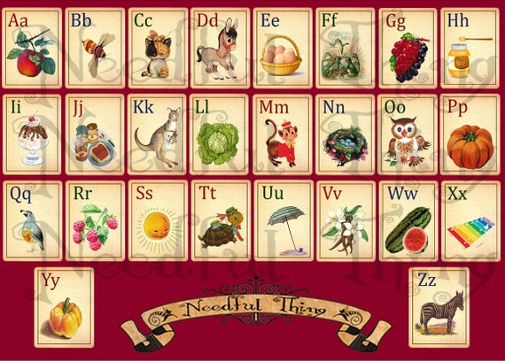 Vintage Old Paper Alphabet Abc Cards Child Children School Illustrated Animal Fruit Printable Retro Digital Sheet Scrapbooking Flashcards A1