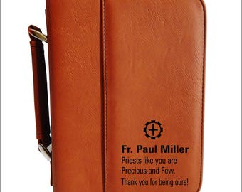 Catholic Brother Gift - Gifts for Priest Birthday - Seminary Gift - Leather Bible Case - Priest Appreciation Gift. BCL023