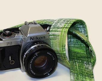 Custom Handmade Fabric Camera Strap - Green Textured Plaid - SLR, DSLR