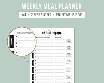 PRINTABLE Minimalistic meal planner Daily meal planner Weekly meal planning insert Meal planner A4 Filofax Menu planner weekly