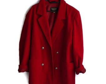 Vintage Red Coat, Red Wool Coat, Classic Red Coat, Wool Coat, Womens wool coat, Red jacket, Red blazer, Boxy Coat, Size 42