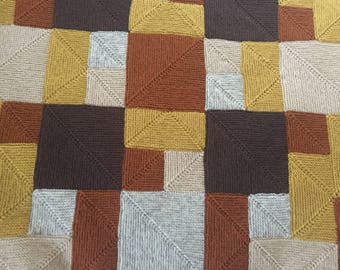 """Hand Knitted """"Rambling Rows"""" afghan, throw, blanket in brown, rust, mustard, beige, 42"""" x 50"""" (106 x 127 cm), birthday, mothers day gift"""