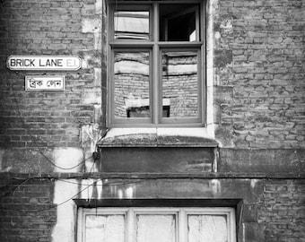 London Photography - Brick Lane - Black and White Photography, Urban Art, Fine Art Photography, Architecture, Wall Art, Matted Print
