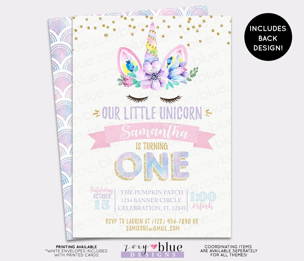 Unicorn Birthday Invitation - Girl Magical Unicorn First Birthday ...