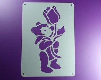 Stencil teddy bear with Flower Bear-BE47