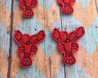 Set of 4 Crawfish Felties - Red Crayfish Mudbug Lobster South Hair Accessories Scrapbook Planner Hairbow - READY TO SHIP