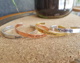 Bridal- maid of honor - bridesmaid - Hand Stamped Bracelet Cuff - Gift - Message Jewelry - Custom Jewelry silver, gold, copper