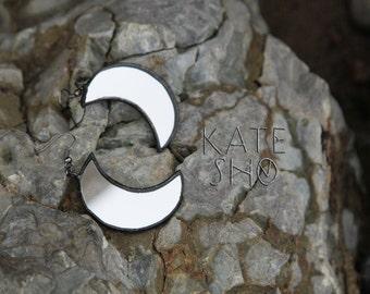 Hypoallergenic earrings, crescent moon earrings, Alchemy jewelry, Alchemy earrings, boho chic earrings, Occult jewelry crescent moon jewelry