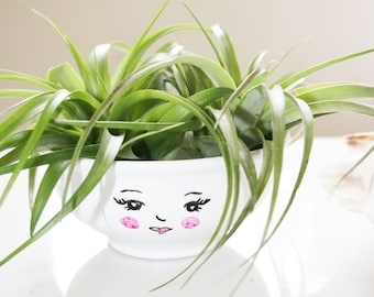 Cute face air plant planter / succulent planter / small plant planter / Jewelry holder