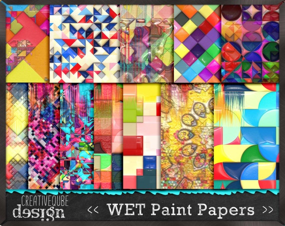 Digital Paper Pack Wet Paint 3D effects in gloss. Bright, bold colors. Personal and small commercial Use.
