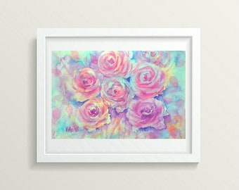 Pink Wall Art Print Roses Baby Girl Room Decor Watercolor Roses Print Digital Flowers Floral Print Digital Download Art Flowers Print Pink